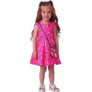 Vestido infantil Mon Sucré de poá com bolsinha joaninha pink