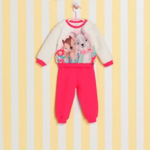 Conjunto de bebê menina Mon Sucré inverno blusa pelúcia com calça coral