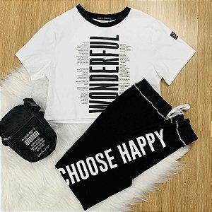 Conjunto teen tumblr t-shirt cropped calça moletom branco e preto