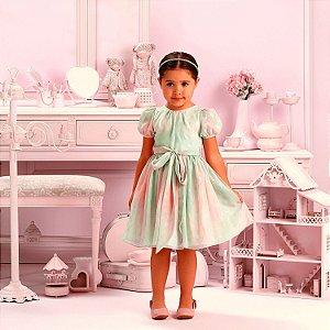 Vestido de festa infantil Petit Cherie luxo candy color póa rosa e verde