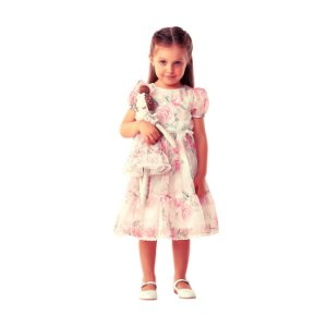 Vestido de festa infantil Petit Cherie princesa floral rosa