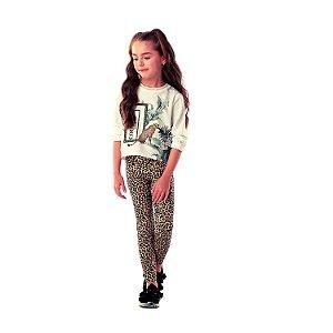 Calça infantil Petit Cherie avulsa  legging animal print oncinha preta e bege