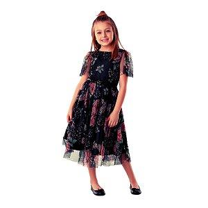 Vestido infantil de festa Petit Cherie luxo floral tule preto