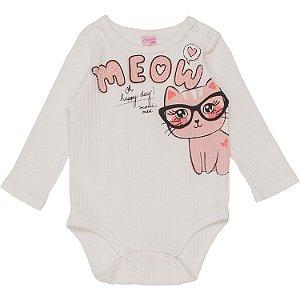 Body de bebê Momi menina manga longa gatinho off white