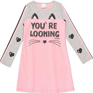 Vestido infantil Momi inverno manga longa gatinho rosa e cinza