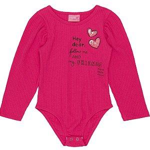 Body infantil Momi inverno caneladinho manga longa pink