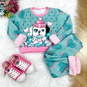 Conjunto de bebê Mon Sucré blusa calça moletom cachorrinho verde