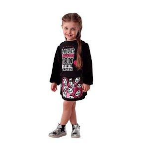 Conjunto infantil Petit Cherie inverno blusa pelinho com saia paetê panda preto