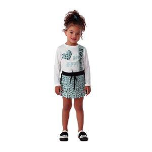 Conjunto infantil Petit Cherie blusa be happy com saia coração verde