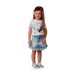 Saia jeans infantil Petit Cherie babadinho tule com pérola fashion