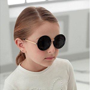 Óculos infantil Petit Cherie proteção UV 400 flor preto