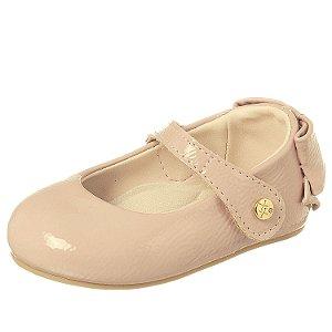 Sapato infantil boneca de verniz rose com laço atrás 18 ao 22