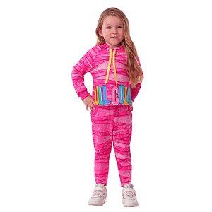 Conjunto infantil Mon Sucré inverno moletom confetes rosa pink