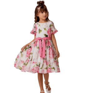Vestido de festa infantil floral luxo toque de seda Petit Cherie