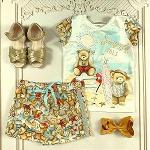 Conjunto infantil Petit Cherie blusa e short-saia ursinho na praia Tam 1