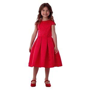 Vestido infantil de festa Petit Cherie vermelho paetê 06 ao 16