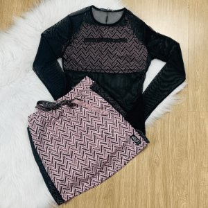 Conjunto tumblr teen top tule com saia rose preto Vanilla Cream