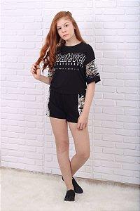Conjunto teen tumblr blusa cropped shorts paetês preto e prata
