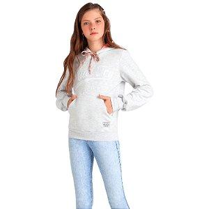 Blusa de moletom teen canguru cinza com capuz Vanilla Cream