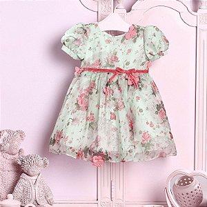 Vestido de festa bebê Petit Cherie jardim encantado verde e rosa