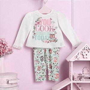 Conjunto bebê Petit Cherie blusa com calça raposinha verde
