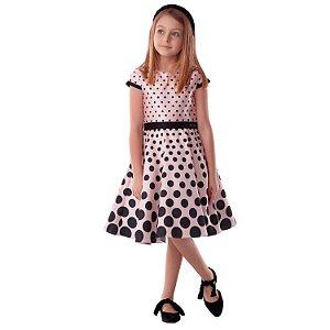 Vestido de festa infantil Petit Cherie luxo poá rosa e preto