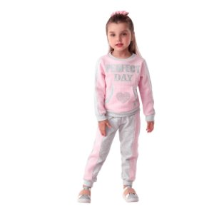 Conjunto infantil Petit Cherie moletom blusa com calça cinza e rosa