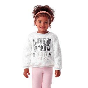 Blusa infantil Petit Cherie inverno de pelinho e paetês off white