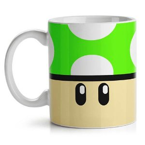 Caneca Gamer - Cogumelo Verde 1 up