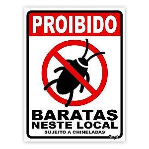 Placa Proibido Baratas Neste Local