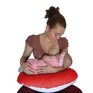 Almofada De Amamentação Vermelho poá Babykinha