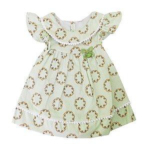 Vestido para Bebê Emilia Algas Verde