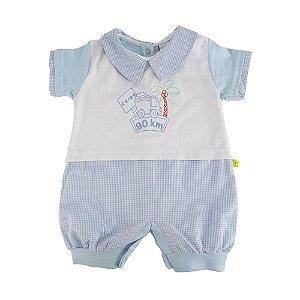 Macaquinho Curto Xadrez Azul Dayane Baby