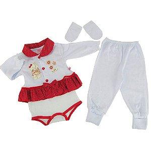 Conjunto Bebê Feminino Pagão Vermelho e Branco