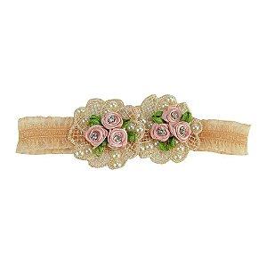 Tiara Mini Rosas Detalhes Crochê