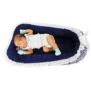 Ninho Para Bebê Dupla Face Chevron Marinho