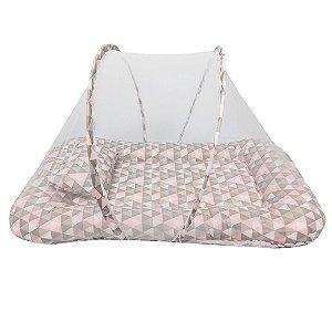 Berço Portátil Mosquiteiro Triângulos Rosa BabyKinha