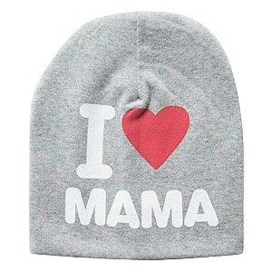 Touca I Love Mama Para Bebê Cinza Mescla