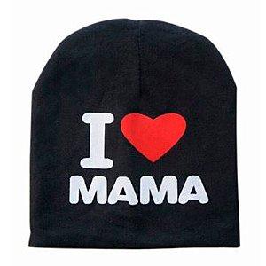 Touca I Love Mama Para Bebê Preta