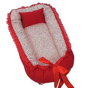 Ninho Para Bebê Vermelho Corações BabyKinha