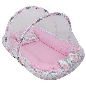 Ninho Para Bebe Com Mosquiteiro Nuvens Rosa Liso BabyKinha
