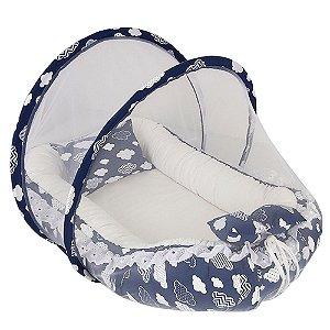 Ninho para Bebê com Mosquiteiro Marinho com Branco Nuvens BabyKinha