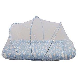 Berço Portátil Mosquiteiro Segunda Fase Nuvem Azul BabyKinha