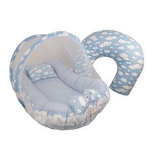 Kit Ninho com Almofada de Amamentar Nuvem Azul Céu BabyKinha