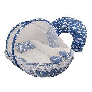 Kit Ninho com Almofada de Amamentar Nuvem Azul Roial BabyKinha