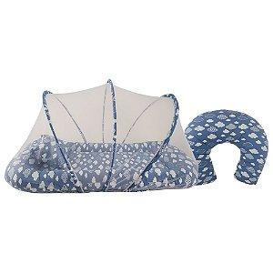 Kit Berço Segunda Fase Nuvem Azul Roial com Almofada de Amamentar Babykinha