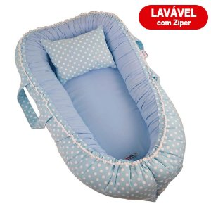 Ninho Para Bebê Com Zíper Azul Poá Babykinha