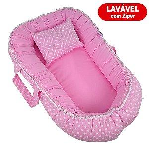 Ninho Para Bebê Com Zíper Rosa Poá Babykinha