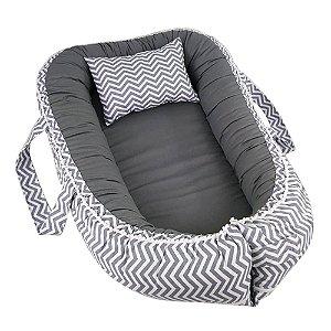 Ninho Para Bebê Com Zíper Chevron Cinza Chumbo BabyKinha