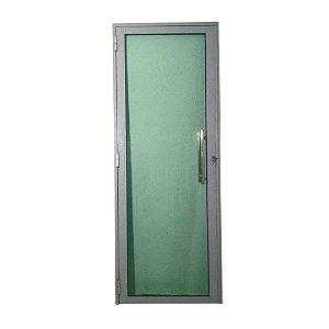 Porta Glass Cinza 2,10x0,80 abertura direita, vidro temperado verde c/ puxador